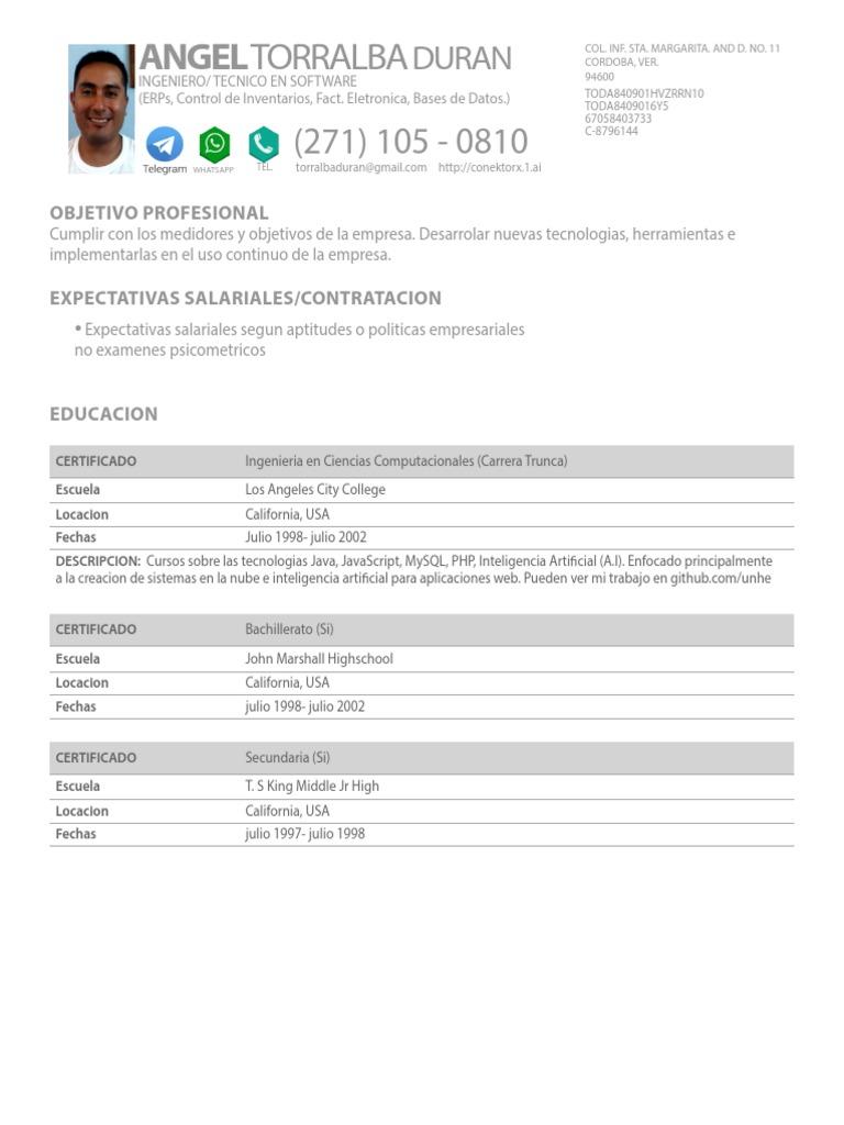 Angel Eleazar Torralba Duran Curriculum Vitae