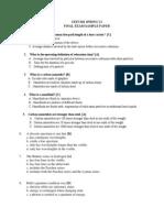 Spring'11 Final Sample Paper