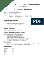 MEC221 Mechanics3 - Spring2014 - Specifications