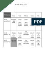 Printmaking Timetable