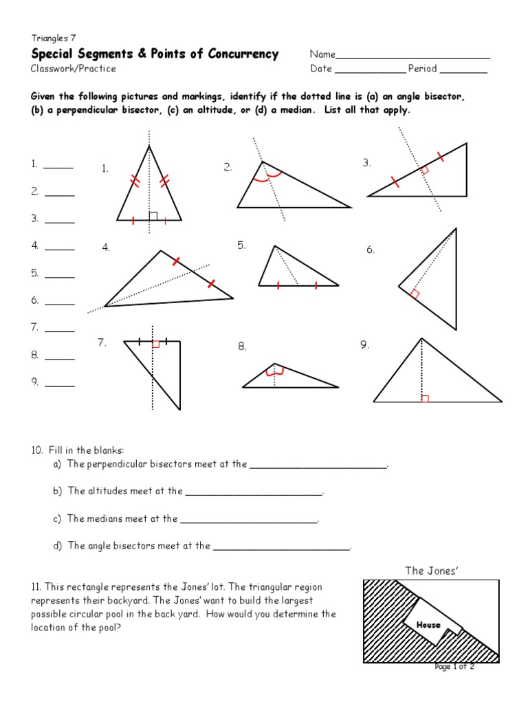 worksheet Special Segments In Triangles Worksheet d7 special segments classwork practice triangle angle angle