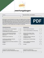 Chain Reaction Bewertungsbogen
