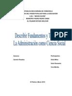 Describir Fundamentos y Técnicas de La Administración como Ciencia Social