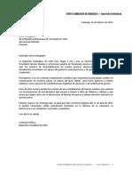 Carta a Embajada de Venezuela en apoyo a la Revolución Bolivariana