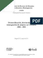ODDR Desmovilizacion Desvinculacion Reintegracion Mujeres Colombia2002-2011