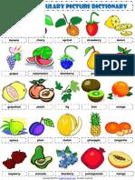 Food Fruit Vocabulary Pictionary Poster Worksheet