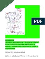 géographie et Carte des cours d'eau qui arrose le Bénin