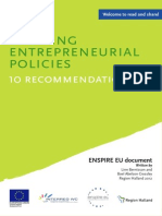 Entrepreneurship Policies 10 Policy Recommendations ENSPIRE EU- Berntsson 2012 8 Pag.