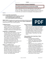 Types of Economic Systems Worksheet