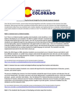 Setting the Record Straight for the Colorado Academic Standards
