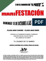 Manifestacón Colegio Público en Barrio de El Puerto