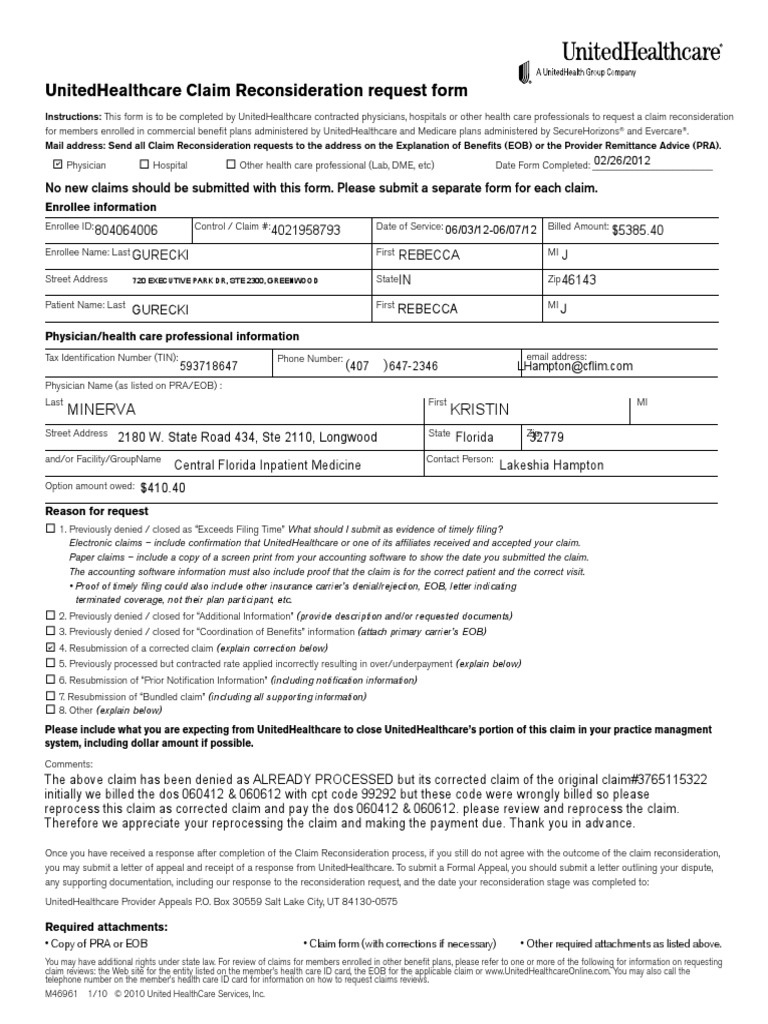 Uhc Appeal Form for Corrected Claim   Health Care   Public ...