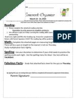 Homework Organizer March 10 - 14