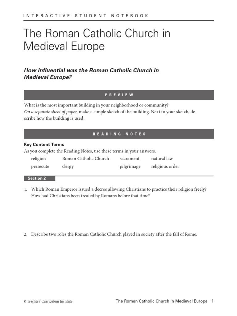 student notebook roman catholic middle ages catholic church rh scribd com Teachers Curriculum Institute Social Studies Teachers' Curriculum Institute Answers Matrix 2