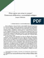 Democracia Deliberativa y racionalidad ambiental Joaquín Valdevielso