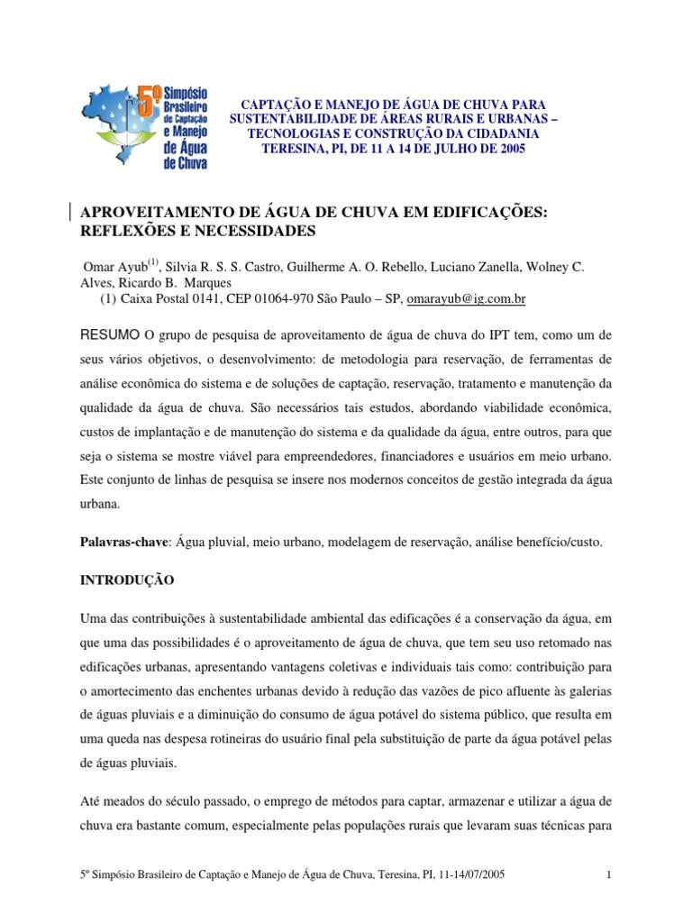 5f3087484f APROVEITAMENTO DE ÁGUA DE CHUVA EM EDIFICAÇÕES - reflexões e necessidades