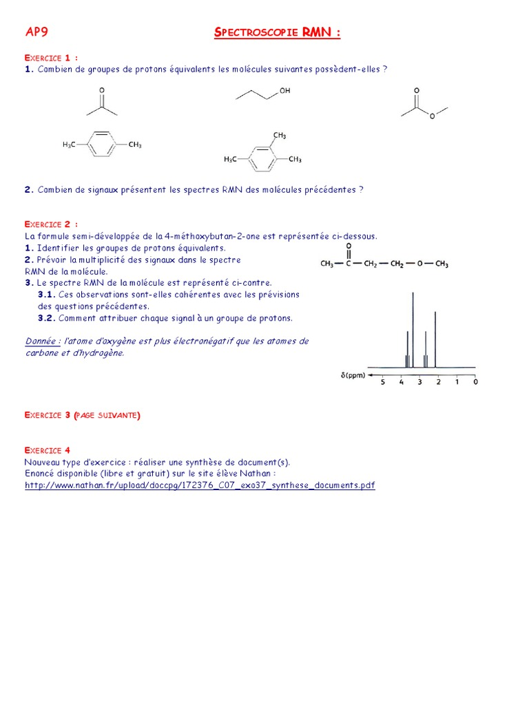 Exercices Rmn Correction Spectroscopie Rmn Mecanique Quantique