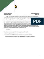 AHS Leadership Application 2014-2015