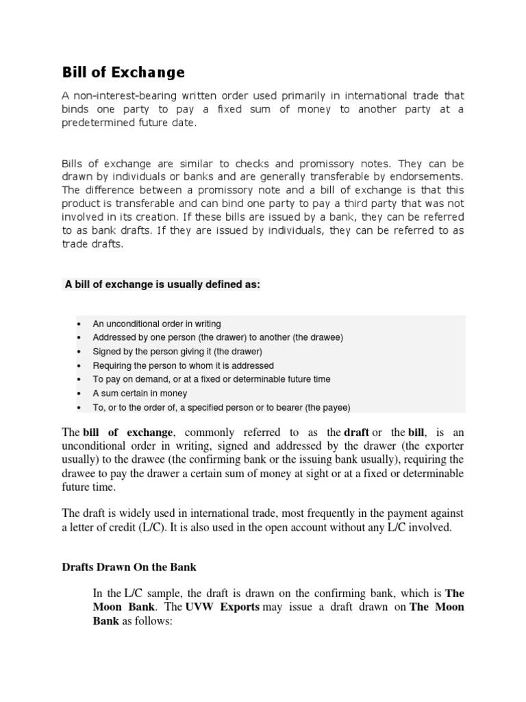 Bill of exchange negotiable instrument business law altavistaventures Choice Image