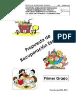 Propuesta de Recuperacion Escolar Primer Grado Nov 19 de 2013