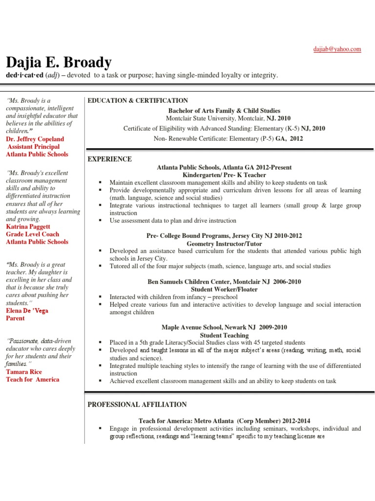 Dajia Broady Resume With No Address Number Differentiated