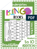 Kindergarten Mini Bingo Book Addition Print and Play