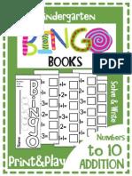 Kindergarten Mini Bingo Book Addition Print and Play