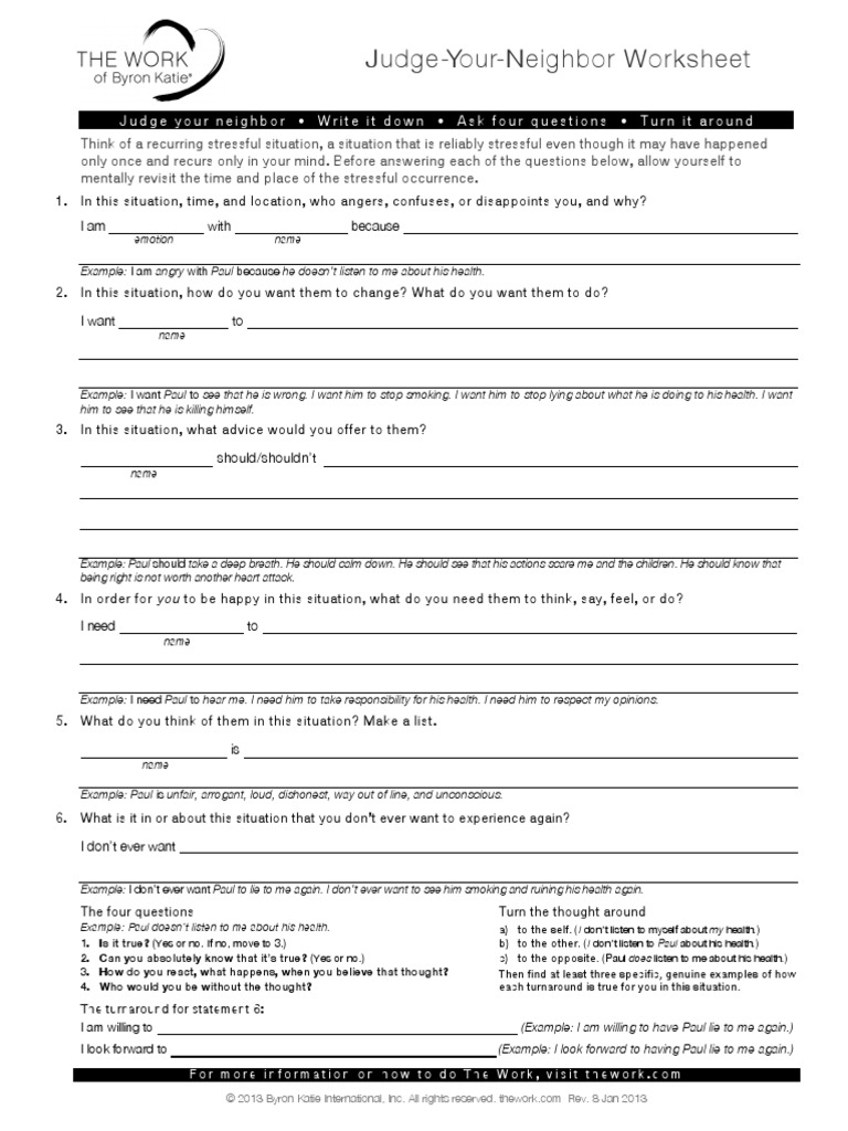 Judge Your Neighbor Worksheet | Behavioural Sciences ...