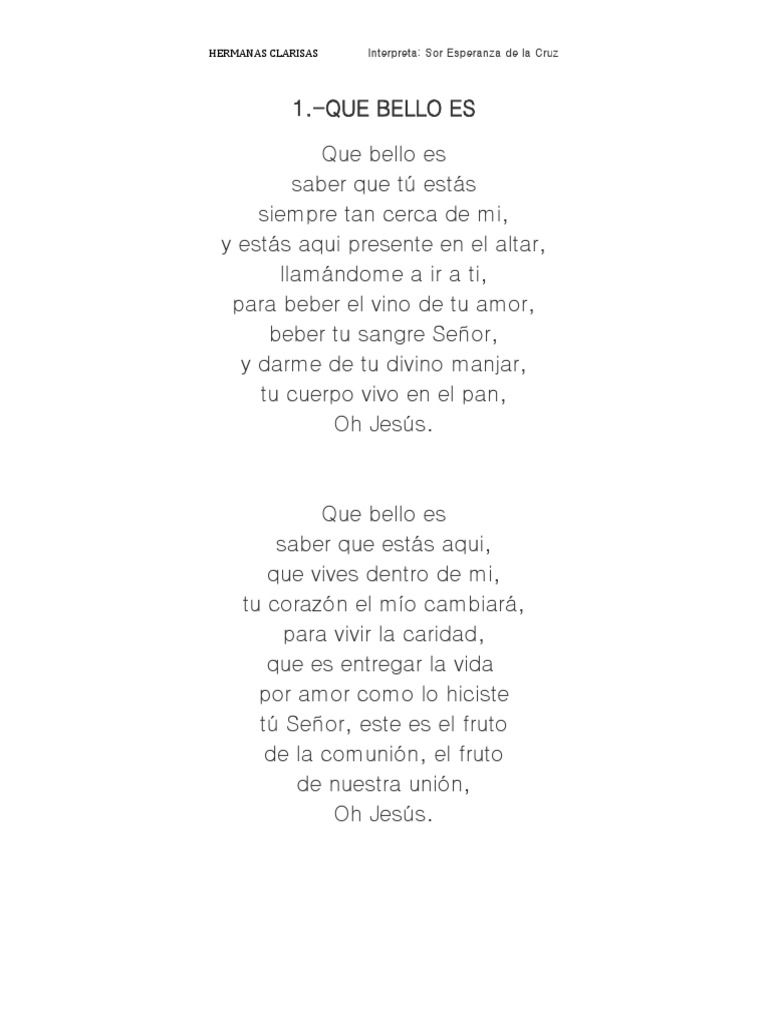 Letra De Canciones Hermanas Clarisas