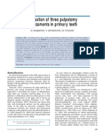 Evaluation of Three Pulpotomy Medicaments in Primary Teeth