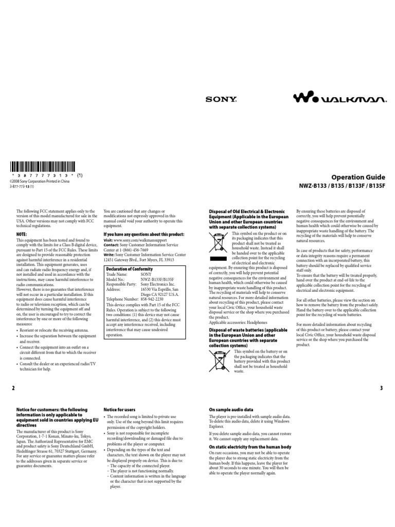Walkman Sony NWZ B133F/B135F | Flash Memory | Computer File