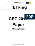 Cetking Maharashtra MHCET 2012 MBA CET Actual Paper PDF Logic Section