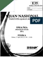 Naskah Soal UN Fisika SMA 2012 Paket E35