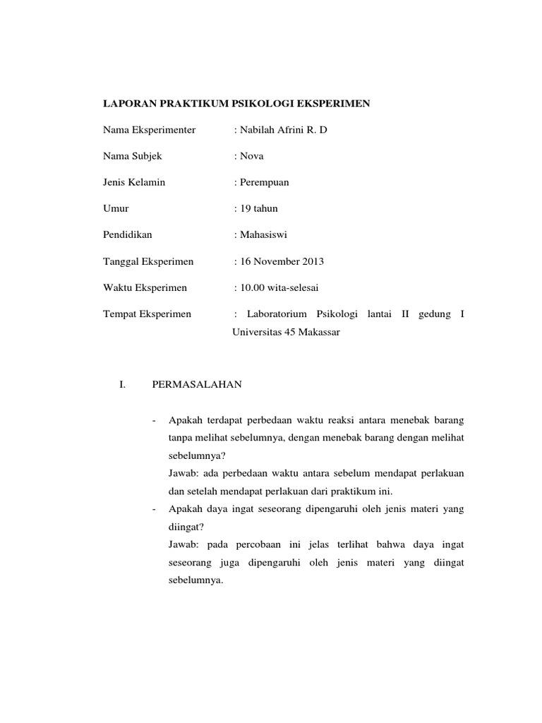 Laporan Praktikum Psikologi Eksperimen Docx