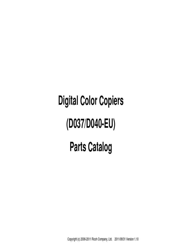 RICOH Aficio MPC 2030 parts manual   Photocopier   Office
