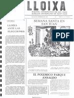 LLOIXA. Número 20, febrero/febrer 1983. Butlletí informatiu de Sant Joan. Boletín informativo de Sant Joan. Autor