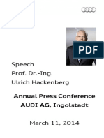 Prof. Dr. Ulrich Hackenberg Annual Press Conference 2014