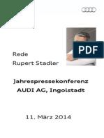 Rupert Stadler – Jahrespressekonferenz 2014