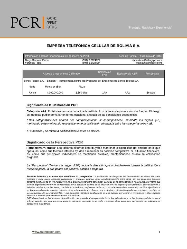 Estados Financieros de Tigo Bolivia