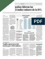 Cuatro compañías lideran ganancias índice minero BVL_Gestión_11-03-2014