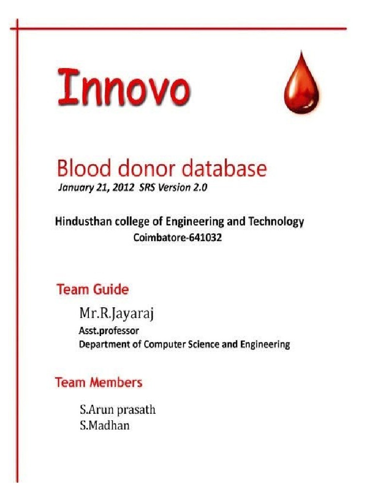 blood doner database The ibts maintains a computerised donor database on individuals who donate blood this database (called progesa) is used by the ibts to communicate with donors, record their donation and test result details.