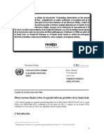 Informe de Naciones Unidas sobre la Santa Sede. Por Promsex