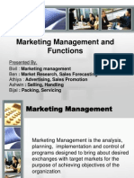 Marketing Management and Functions