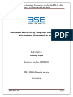Investment Banks Assisting Companies Involved in M & a With Respect to Pharmaceuticals Sector