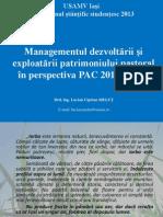 Managementul dezvoltării și exploatării patrimoniului pastoral în perspectiva PAC 2014 – 2020