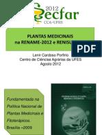 Plantas Medicinais Autorizadas RENAME e RENISUS