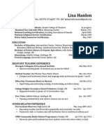 lisa hanlon - teaching resume march 2014