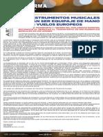 Comunicado AIE Instrumentos Musicales Vuelos Europeos 20Ene14