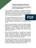 ESTUDIANTES PERUANOS FUERON SELECCIONADOS PARA PARTICIPAR EN CONCURSO INTERNACIONAL DETECNOLOGÍA