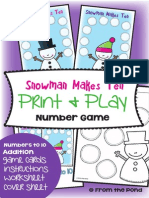 Snowman Makes Ten Math Center Game for Early Number